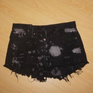 Levi's High-Waist Distressed Bleach Black Shorts